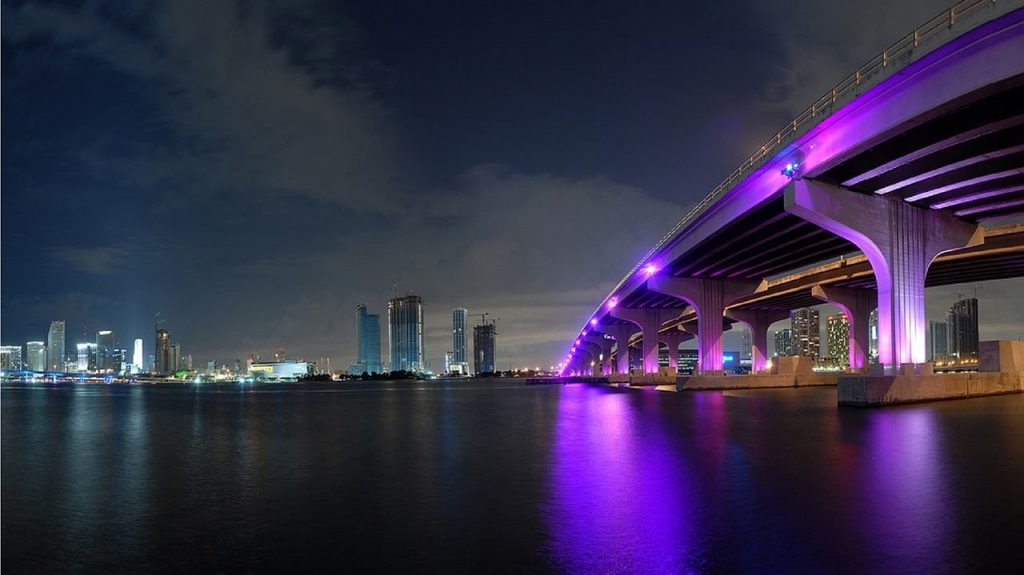 miami skyline at night - PerfectYachtCharter.com